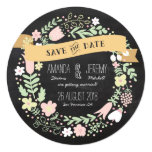 Floral Wreath Chalkboard Save the Date Photo Invite