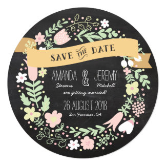 Floral Wreath Chalkboard Save the Date Photo 5.25x5.25 Square Paper Invitation Card