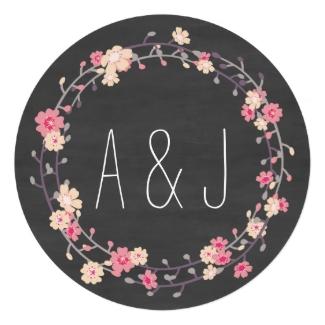 Floral Wreath Chalkboard Wedding