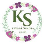 Floral Wreath Classic Round Sticker