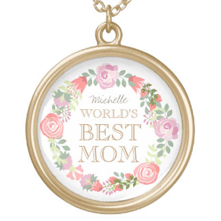 Floral wreath custom text gold plated necklace
