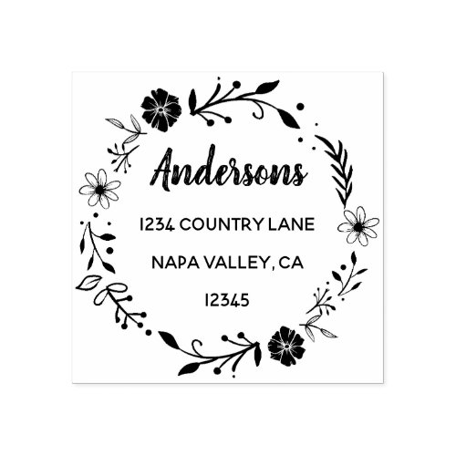 Floral Wreath  Family Name Return Address Rubber Stamp