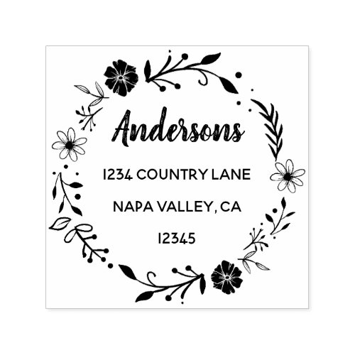 Floral Wreath  Family Name Return Address Self_inking Stamp