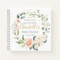 Floral wreath, foliage Baby Shower Guest Book