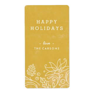 Floral Wreath Gift Tag Label - Gold Shipping Label