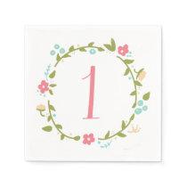 Floral Wreath Girl 1st Birthday Napkin
