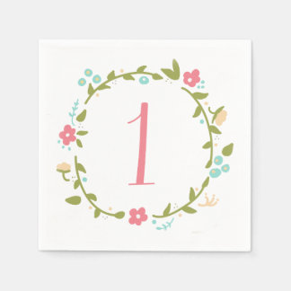 Floral Wreath Girl 1st Birthday Napkin