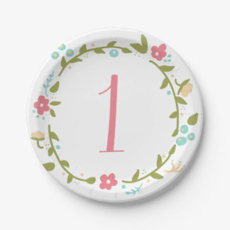 Floral Wreath Girl 1st Birthday Paper Plates