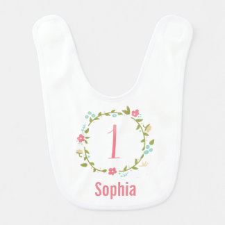 Floral Wreath Girl 1st Birthday Personalized Baby Bib