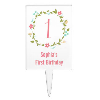 Floral Wreath Girl 1st Birthday Personalized Cake Topper