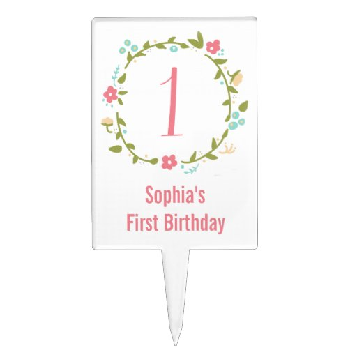 Floral Wreath Girl 1st Birthday Personalized Cake Topper ...