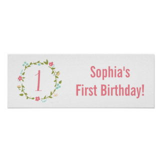 Floral Wreath Girl 1st Birthday Personalized Poster