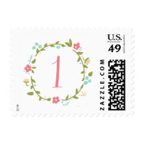 Floral Wreath Girl 1st Birthday Postage