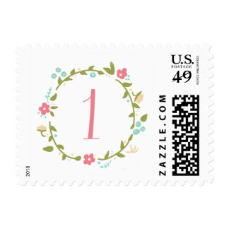 Floral Wreath Girl 1st Birthday Postage Stamp