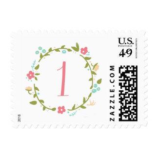 Floral Wreath Girl 1st Birthday Postage Stamp