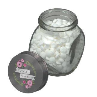 Floral Wreath Girl Baby Shower Jelly Belly™ Jar Glass Jar