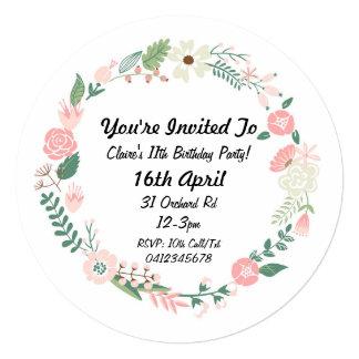 Floral Wreath Girls Birthday Invitation