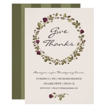 Beach Themed Floral Wreath Give Thanks Thanksgiving Dinner Card