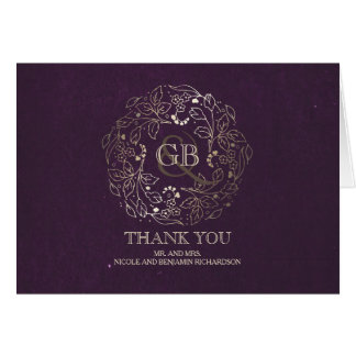 Floral Wreath Gold and Plum Wedding Thank You Card