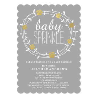 Floral Wreath | Golden Baby Sprinkle Invitation