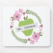 Floral Wreath Green Apple Personalized Teacher Mouse Pad