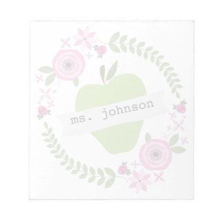 Floral Wreath Green Apple Personalized Teacher Memo Notepads