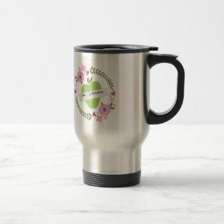 Floral Wreath Green Apple Personalized Teacher Travel Mug