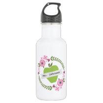 Floral Wreath Green Apple Personalized Teacher Water Bottle