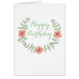 Floral Wreath Happy Birthday Card
