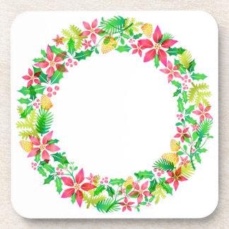 Floral Wreath Hard Plastic Coasters
