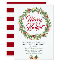 floral wreath  holiday party invitation