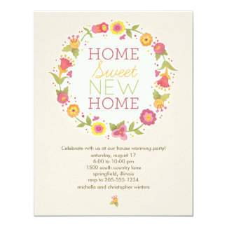 Floral Wreath House Warming Party Invitations