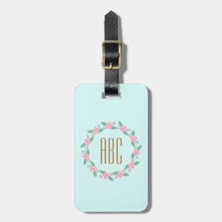 Floral Wreath Initial Personalized Luggage Tag