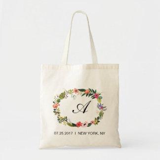Floral Wreath Initial Wedding Favor Bag