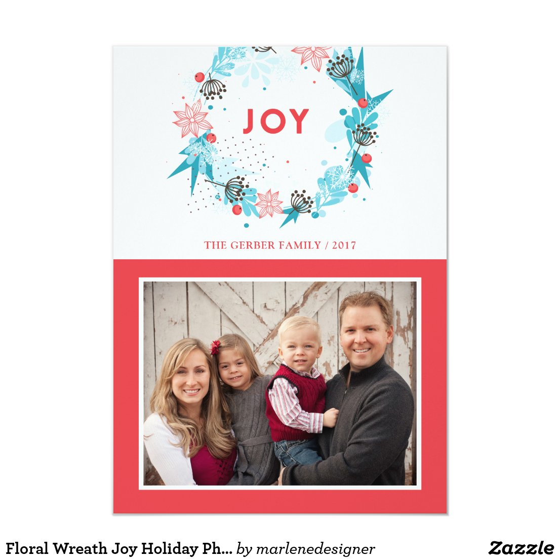 Floral Wreath Joy Holiday Photo Card