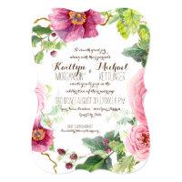 Floral Wreath Leaf Bracket Raspberry Roses Peonies Invitation