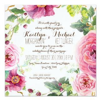 Floral Wreath Leaf Branch Berries Roses Peonies Card