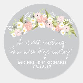 Floral Wreath Light Gray Wedding Classic Round Sticker