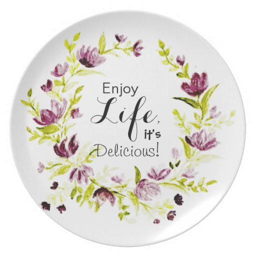 Floral Wreath Melamine Plate