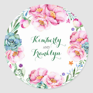 floral wreath modern watercolor wedding classic round sticker