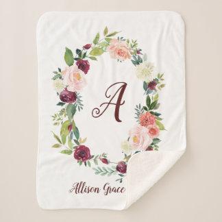 Floral Wreath Monogram Baby Sherpa Blanket