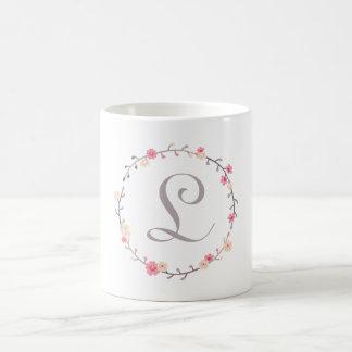 Floral Wreath Monogram Classic White Coffee Mug