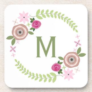 Floral Wreath Monogram Cork Coasters
