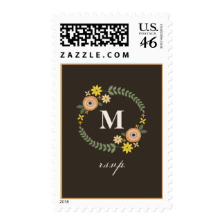 Floral Wreath Monogram Fall R S V P Postage Stamps