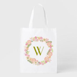 Floral Wreath Monogram Grocery Bag