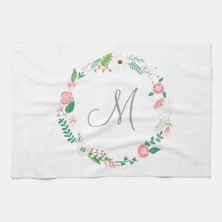 Floral Wreath Monogram Initial Kitchen Towels