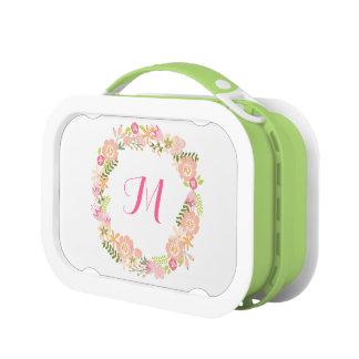 Floral Wreath Monogram Lunchbox