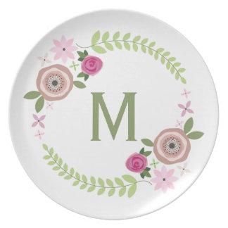 Floral Wreath Monogram Melamine Plate
