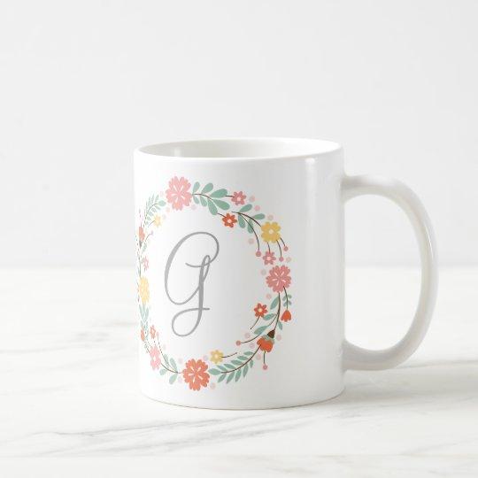 floral wreath monogram mug zazzle com