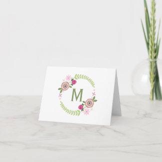 Floral Wreath Monogram Notecard